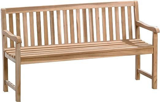 Banco de 4 plazas Trendy Home GmbH de madera maciza de 4 plazas, banco de jardín de aprox. Banco de madera de teca maciza de 180 cm de ancho sin tratar.: Amazon.es: Jardín