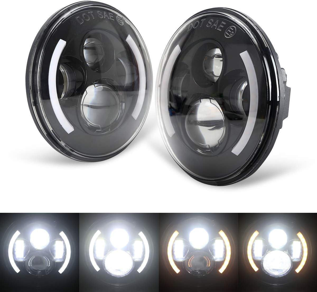 Green-L 7inch Cree LED Phare Pour Projecteur Harley Davidson Daymaker Ronde Ampoule Led Angel Eye Drl Halo Noir-2pcs