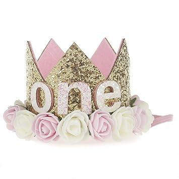 2c36627adfc Bodermincer Baby Girl First Birthday Party Cap Decorations Hairband Princess  Queen Flower Crown Headband Elastic Headwear