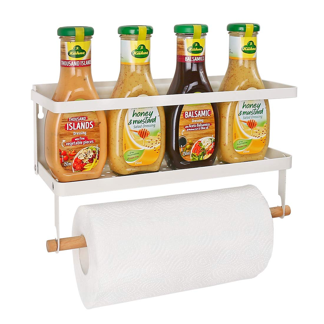 Haturi Fridge Spice Rack, Magnetic Storage Shelf with Paper Towel Holder Single Tier Kitchen Refrigerator Organizer Rack (Small,White)