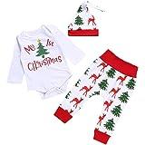 Hosaire Navidad Bebe Ropa Bebé Niña Niño Monos 'my 1st Christmas ' + Pantalones a Rayas + Sombrero