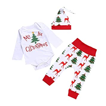 cf0f6d7e3 Scrox 3Pcs My First Christmas Clothes Sets Red My 1st Christmas ...
