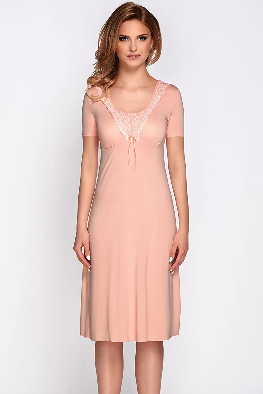 ac5ed3d5e53d Vivisence Livia 2006 Women s Nightdress Lace Short Sleeves Smooth Round  Neck - Made In EU  Amazon.co.uk  Clothing