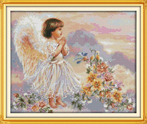 Stamped Cross Stitch Kits The Pray Angel 14Count 40cmx34cm DIY Needle Work for Home Decor Mother and Daughter