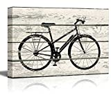 Wall26 - Bicycle/Bike Silhouette Artwork - Rustic Canvas Wall Art Home Decor - 24x36 inches