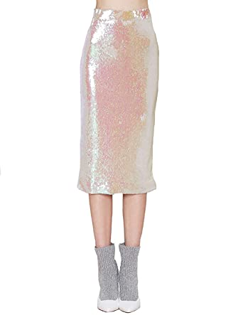 83c947a35c74 HaoDuoYi Womens Sparkle Sequins Pencil Bodycon Midi Party Skirt at ...