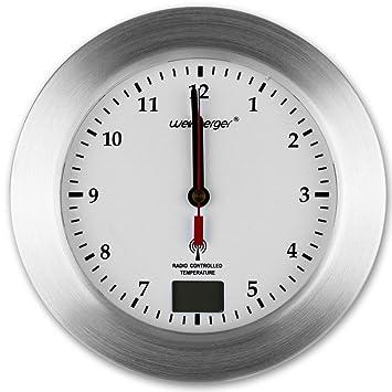 Baduhr - Wanduhr - Funk Uhr - Badezimmer Funkuhr mit Farbauswahl (weiß)