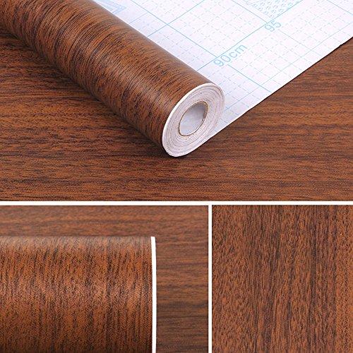 SimpleLife4U Minimalist Brown Wood Grain Contact Paper Self Adhesive Shelf Liner Nightstand Door Sticker 17.7 Inch by 9.8 Feet by SimpleLife4U (Image #1)