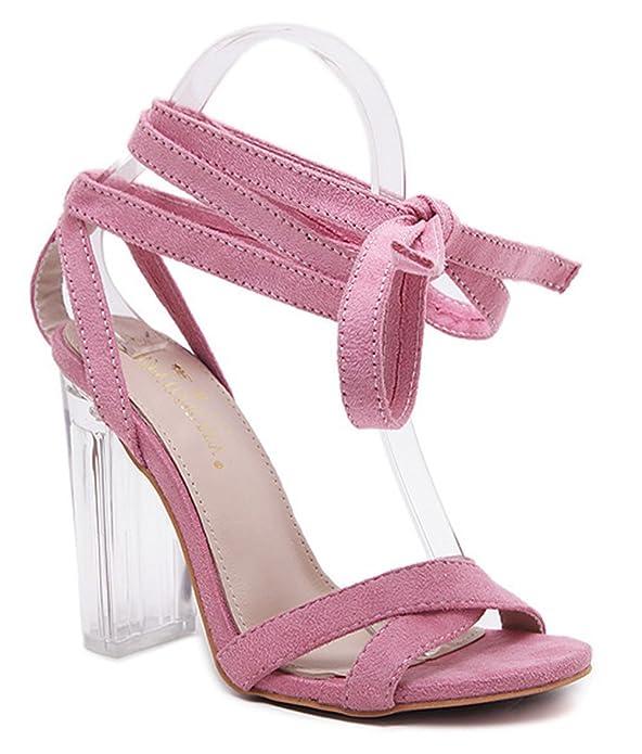 Easemax Damen Bequem Hoher Absatz Offene Zehen Low Top Schnürung Sandalen Pink 35 EU V1K6D8g