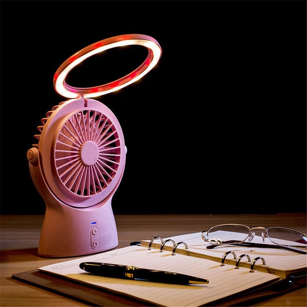 Color : Pink USB Table Desk Personal Fan Summer Multi-Function Small Night Lamp Charging USB Fan Desktop Office Mini LED Desk Lamp Fan for Home Office Table