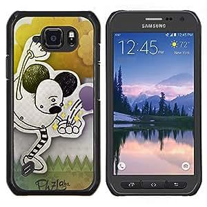 Caucho caso de Shell duro de la cubierta de accesorios de protección BY RAYDREAMMM - Samsung Galaxy S6Active Active G890A - Infancia Orejas Dibujo Negro Pastel Arte