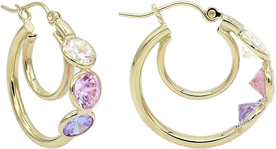 14k Yellow Gold Cubic Zirconia Cz Studs Multi Tube Hoops Ear Jacket Jackets For Fine Jewelry Gifts For Women For Her