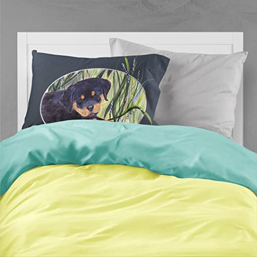 Large Carolines Treasures SS8053PILLOWCASE Rottweiler Moisture Wicking Fabric Standard Pillowcase Multicolor
