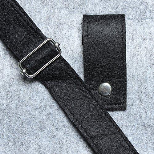 JUSTFOX - XXL Filztasche Handtasche Einkaufstasche Groß und superstabil in 2 Farben grau / schwarz Grau