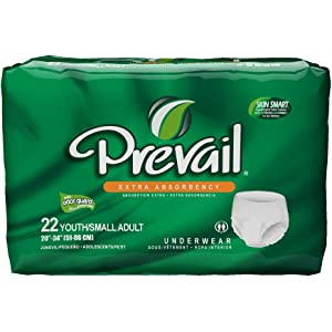 Prevail Extra Absorbency Incontinence Underwear, Youth/Small Adult, 22-Count