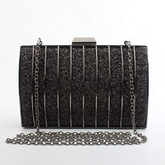 LUSESKY Moda Oro Plata Día Embrague Embragues Negro Bling Monedero Mini Bolsos De Cadena Bolsa De Hombro: Amazon.es: Deportes y aire libre