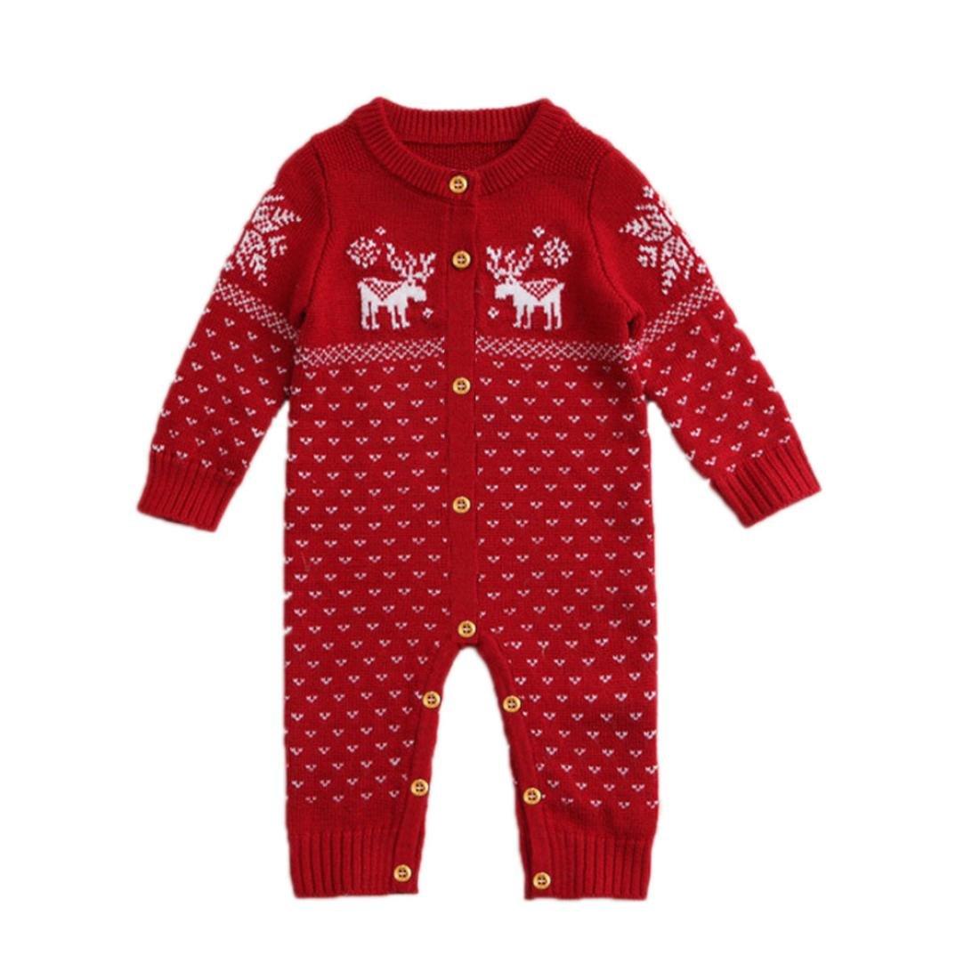 Lisin Christmas Sweaters Coat Deer Unisex Newborn Baby Overall Long Sleeve
