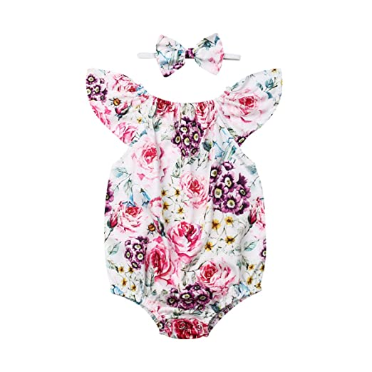 Newborn Infant Baby Girl Romper Bodysuit Jumpsuit Headband Outfit Summer Clothes