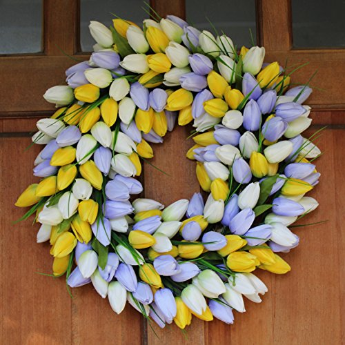 Pale Lavender (Yellow And Pale Lavender Tulip Front Door Wreath 19 Inch - Stunning Silk Front Door Wreath For Spring And Easter Wreath Display, Extremely Full Design, Beautiful White Gift Box Included)