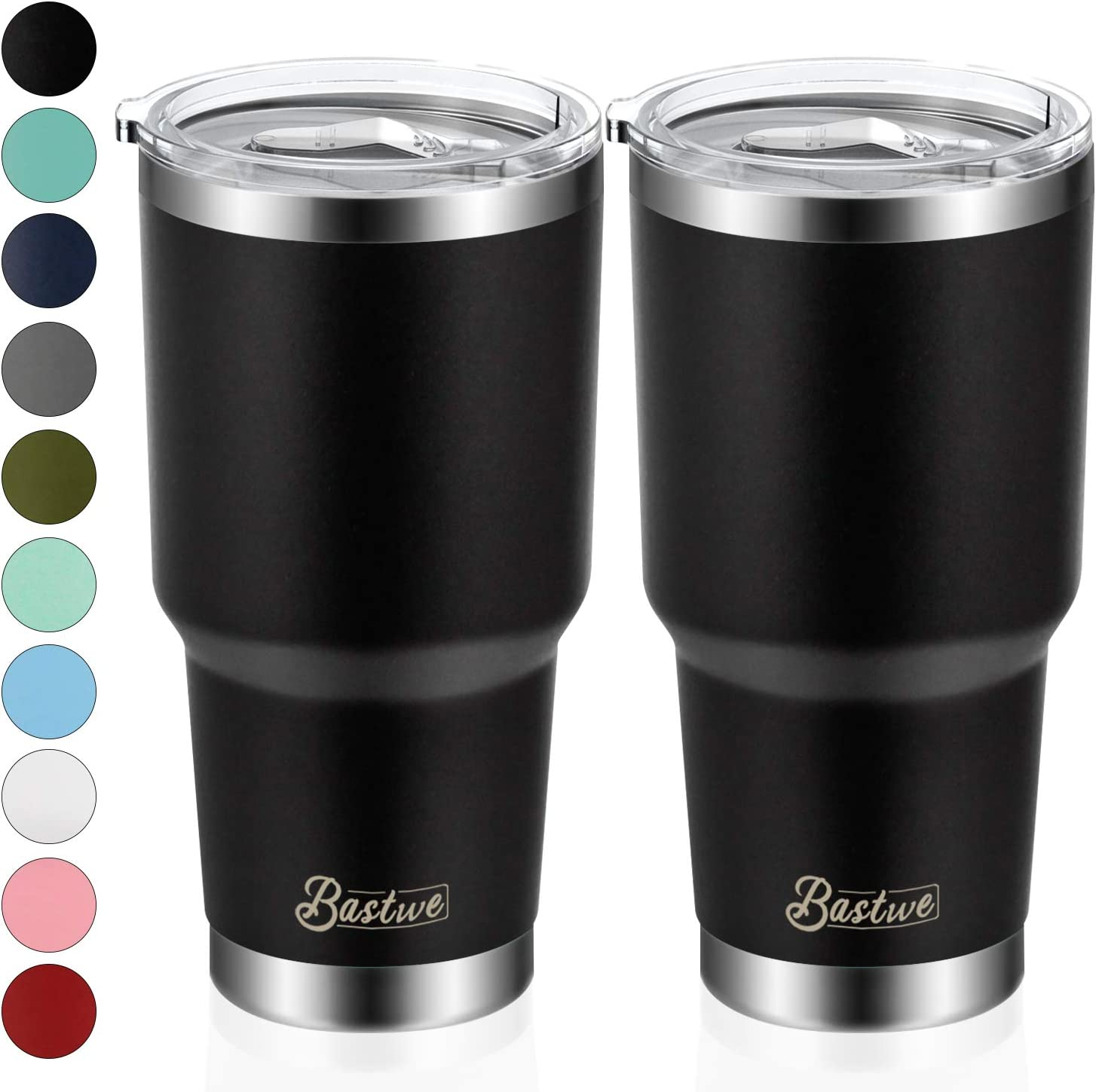 2 Pack 30oz Vacuum Insulated Tumblers, Bastwe Double Wall Stainless Steel Travel Mug with Lid and Straw for Home, Office, School, Works Great for Ice Drink, Hot Beverage (Black)