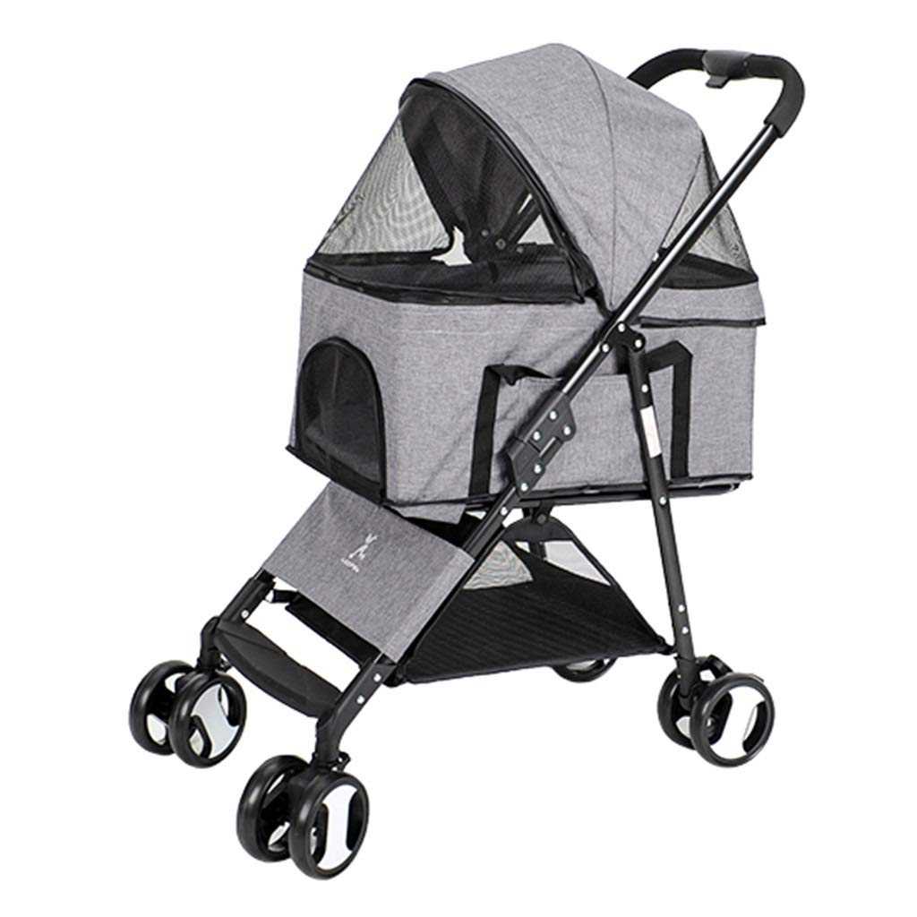 KKCD-Dog Strollers Pet 4 Wheels Travel Stroller Dog Cat Pushchair Trolley Puppy Jogger Folding Carrier (Grey) Cat Stroller
