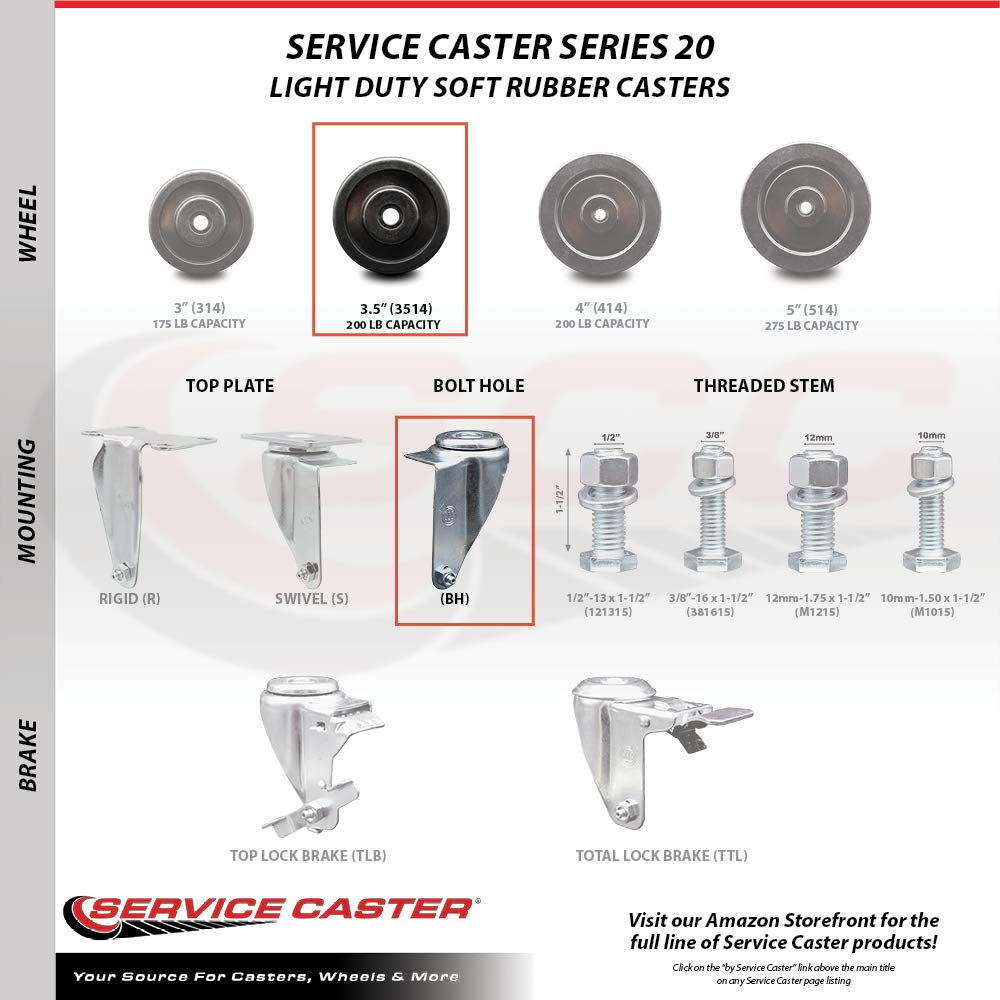 Service Caster Brand Soft Rubber Swivel Bolt Hole Caster Set of 4 w//3.5 x 1.25 Black Wheels Includes 2 with Total Locking Brakes 800 lbs Total Capacity