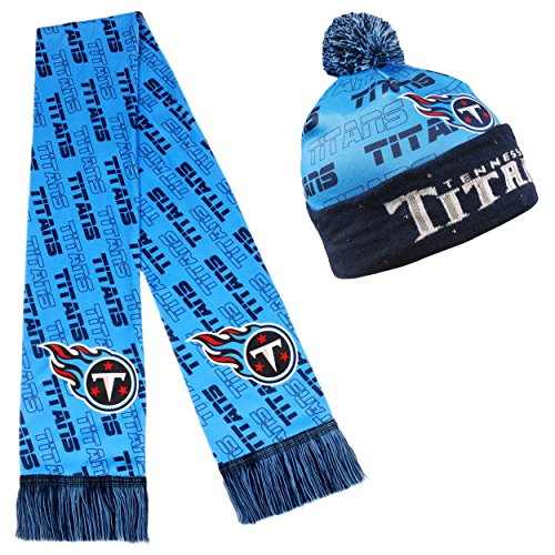 Tennessee Titans Set (NFL Adult's Light Up Printed Beanie And Scarf Set, Tennessee Titans)