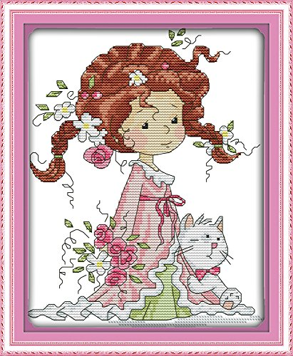 CaptainCrafts Hot New Cross Stitch Kits Needlecrafts Patterns Counted Embroidery Kit - Little Girl And Kitten (STAMPED)