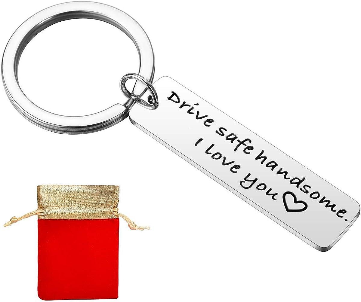 Drive Safe I Need You Here with Me Keychain Trucker Husband Boyfriend Gift