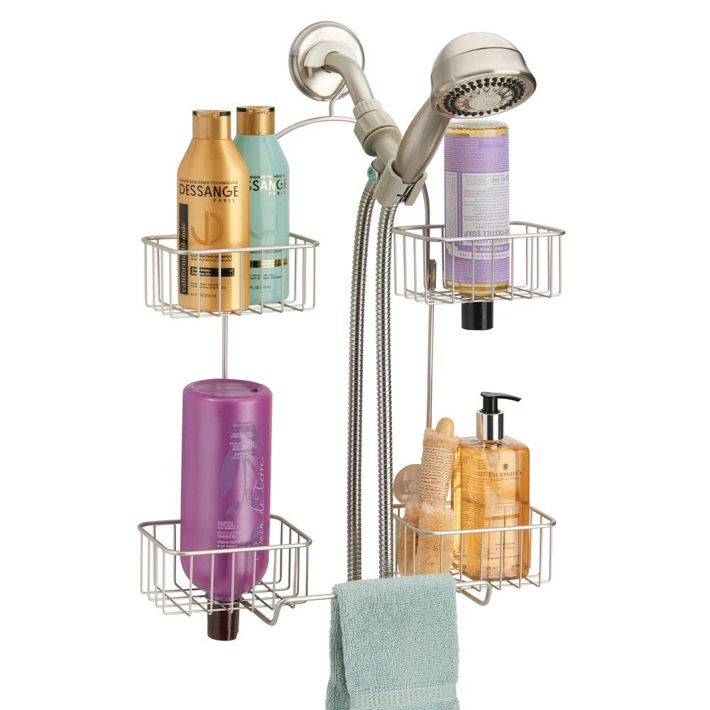 mDesign Metal Hanging Bath and Shower Caddy Organizer for Hand Held Shower Head and Hose - Storage for Shampoo, Conditioner, Hand Soap - 4 Shelf Format - Satin