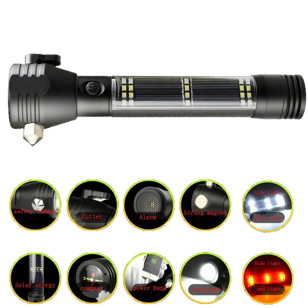 HUANGLP Notfall-Autotaschenlampe, Multifunktions-T6 super hell 120 Dezibel Sound- und Lichtalarm roter und Blauer Blitz USB- und Solarladeschutzhammer Anti-Wolf-Werkzeuge