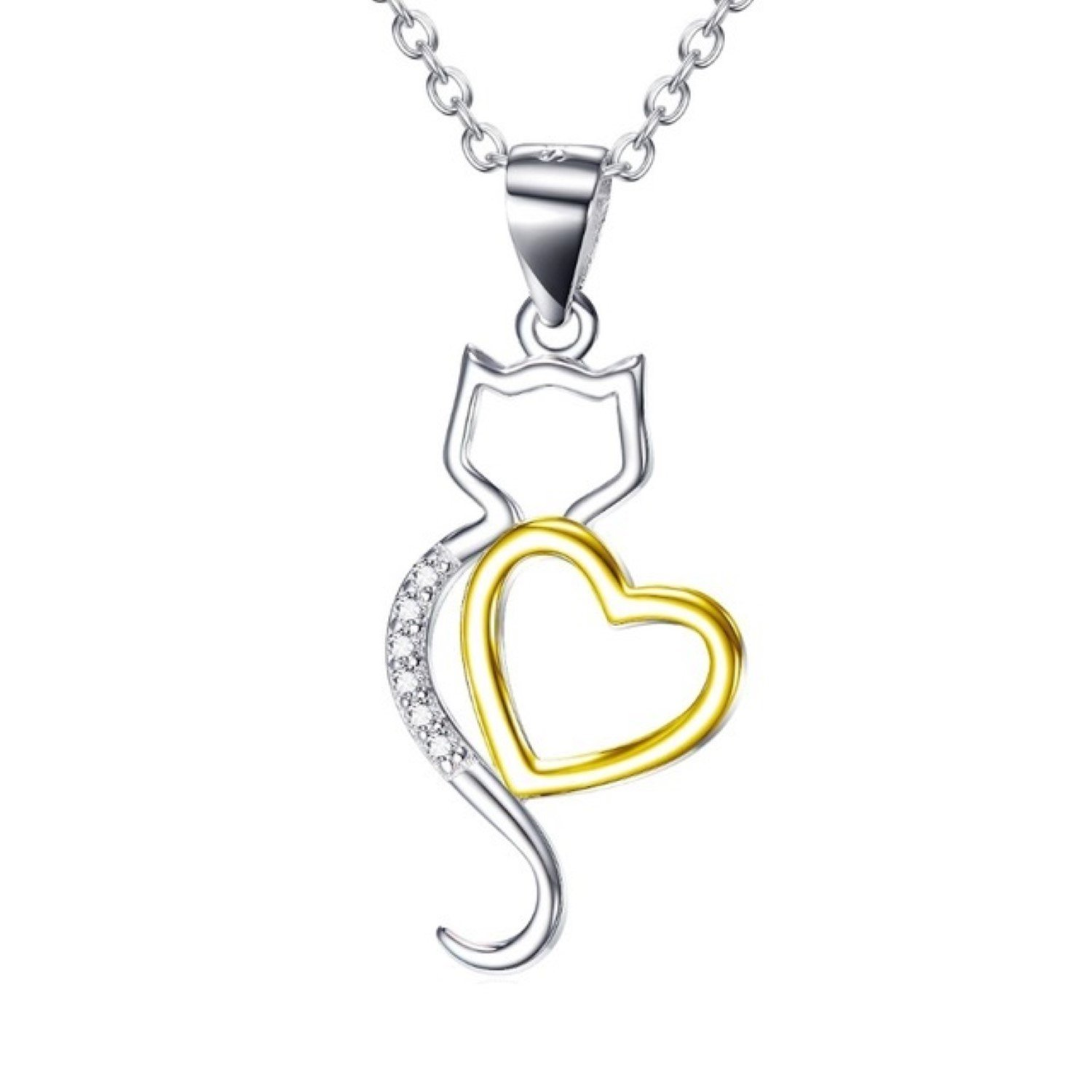 CS-DB Pendants Necklaces Silver Gold Love Heart with Cat Jewelry Girls