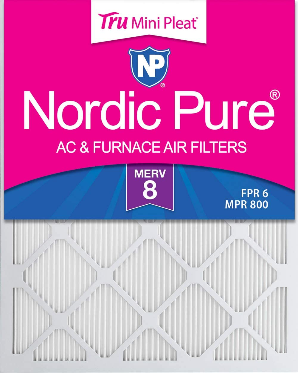 Nordic Pure 8x20x1 Pure Carbon Pleated Odor Reduction AC Furnace Air Filters 8 x 20 x 1 24 Piece