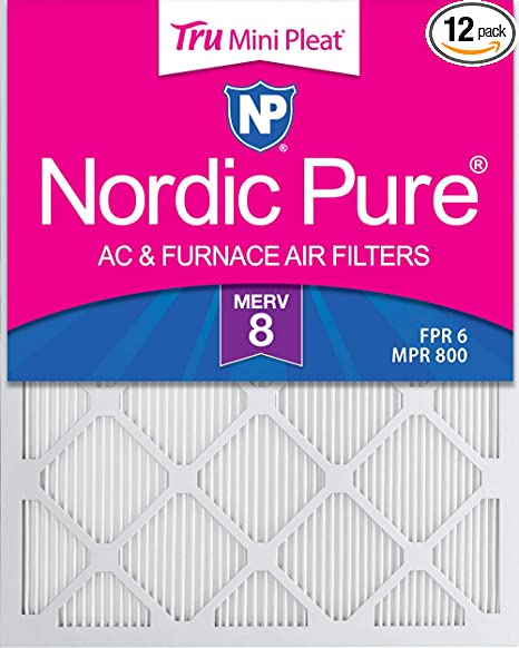 Nordic Pure 15x25x1 MERV 13 Pleated AC Furnace Air Filters 6 Pack