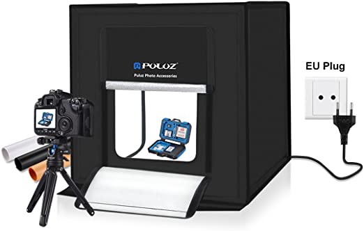 PULUZ Estudio Fotográfico Portátil, Caja Luz LED Profesional, 40 * 40 * 40 Cm + 3 Fondo (Negro, Naranja, Blanco): Amazon.es: Hogar
