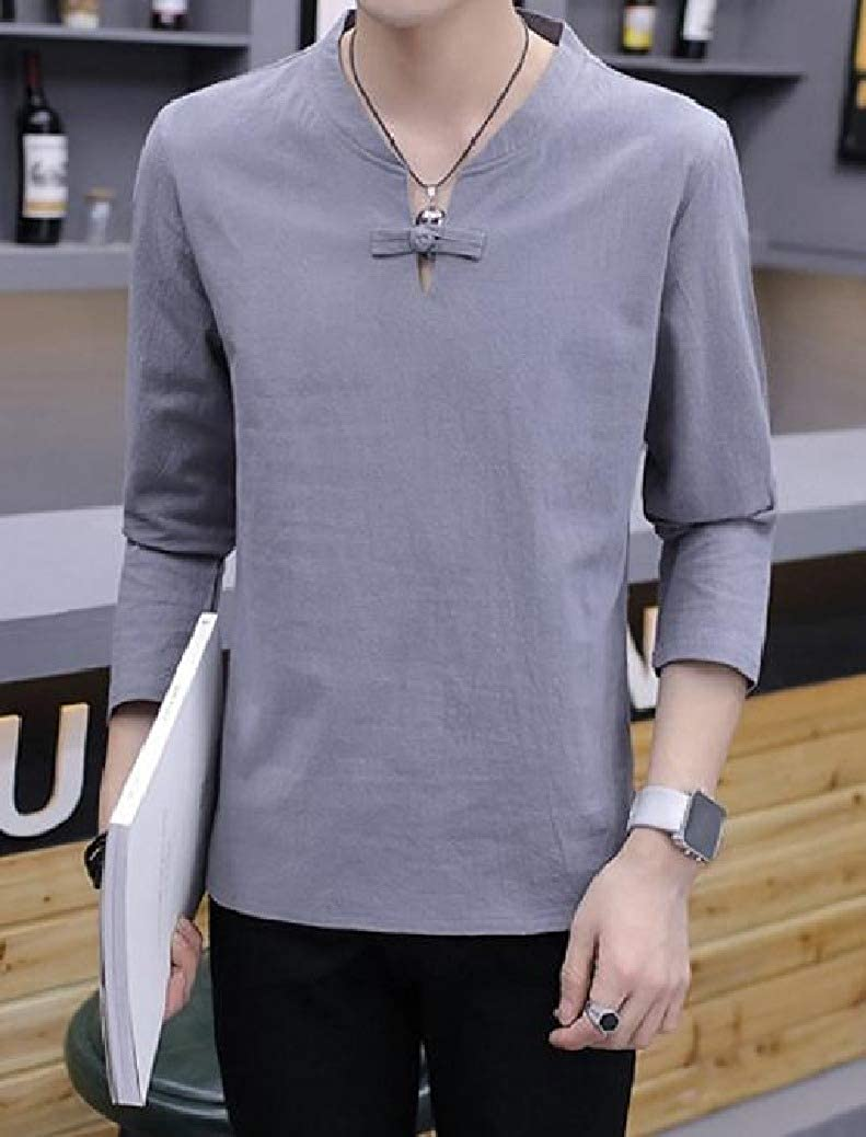 Coolred-Men Pullover Shirts Long-Sleeve Classic V Neck Cotton Linen T-Shirt