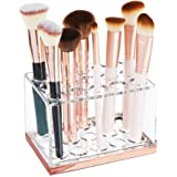 mDesign Plastic Makeup Brush Storage Organizer with 15 Slots for Bathroom Countertop Vanity to Hold Beauty Blenders Eye…