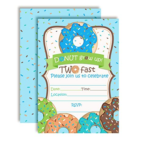 Image Unavailable Not Available For Color Donut Grow Up 2nd Birthday Party Invitations Boys