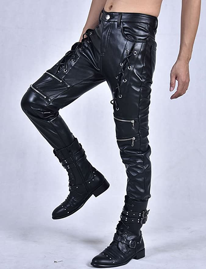 Idopy New Men`s Biker Style Black Faux Leather Trousers Front Lace up Pants:  Amazon.co.uk: Clothing
