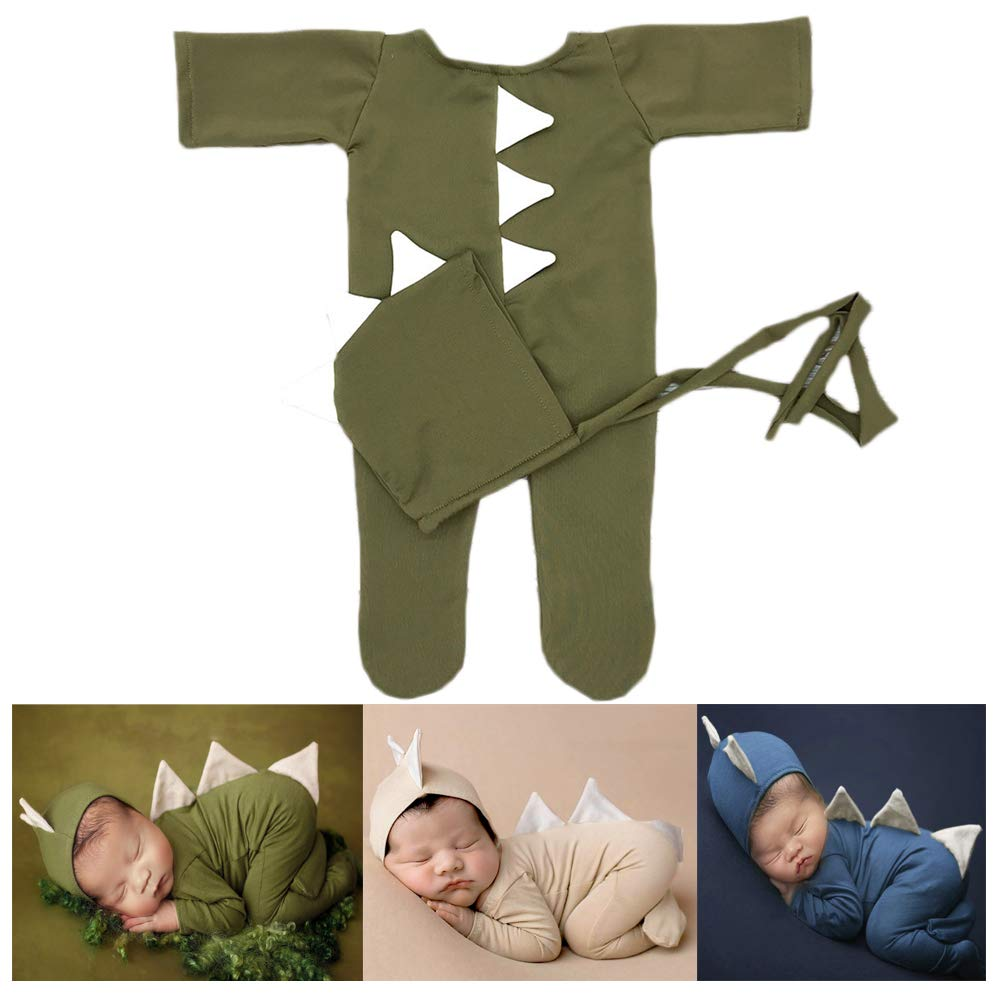 Baby Photography Props Boy Girl Photo Shoot Outfits Newborn Crochet Costume Infant Knitted Clothes Dinosaur Hat Rompers (Green)