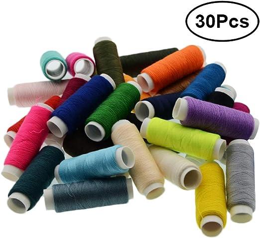 Surtido de Hilos de Coser de poliéster 250 Acolchados de jardín Conexión Overlock Hilo Bobina de Bobina para serger Acolchado de tapicería Rebordear tapicería (30 Colores aleatorios): Amazon.es: Hogar