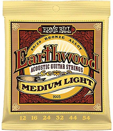 Ernie Ball 2003 Earthwood 80/20 Bronze Medium Light Acoustic Strings 6 -