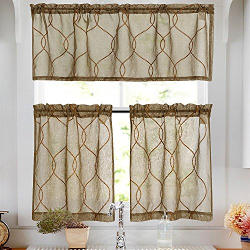 Embroidery Kitchen Curtain Sets 3 Pcs Moroccan Trellis Pattern Embroidered Semi Sheer Kitchen Tier Curtains and Valance Set 24 inch for Bathroom, Taupe