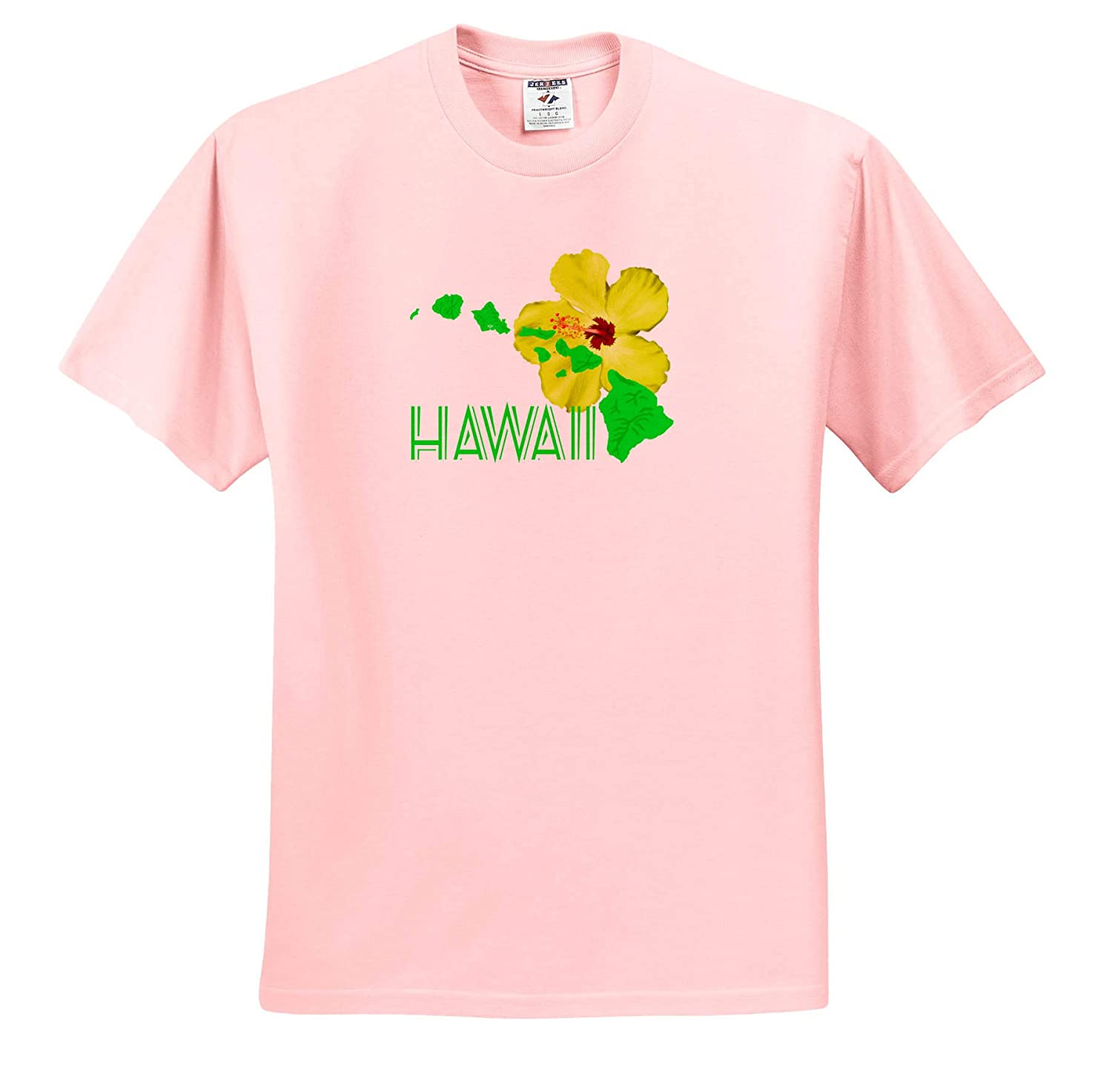 Colorful map of The Hawaii Islands with a Bright Yellow Hibiscus 3dRose Macdonald Creative Studios - T-Shirts Hawaii