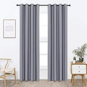 SearchI Vorhänge Verdunkelung Blickdicht mit Gardinen Schlafzimmer  Thermogardine für Wohnzimmer Schlafzimmer Küche Kinderzimmer 140x245 cm  Grau 1 ...