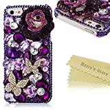 iphone 5 case bling crystal - Iphone SE Case,Iphone 5S/5 Case - Mavis's Diary 3d Handmade Luxury Crystal Sparkling Butterfly Lingers Over The Flower Purple Rhinestone Diamond Bling Cover Case for Iphone SE 5 5S