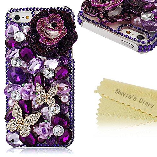 Iphone SE Case,Iphone 5S/5 Case - Mavis's Diary 3d Handmade Luxury Crystal Sparkling Butterfly Lingers Over The Flower Purple Rhinestone Diamond Bling Cover Case for Iphone SE 5 5S