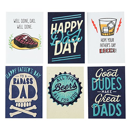 Hallmark Studio Ink Funny Father's Day Card Assortment for Friends, Family and Dad (6 Cards with Envelopes) by Hallmark