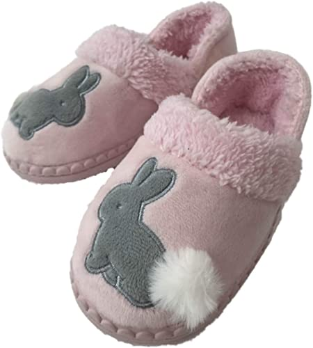 Girls Fuzzy Plush Easter Bunny Rabbit Slippers