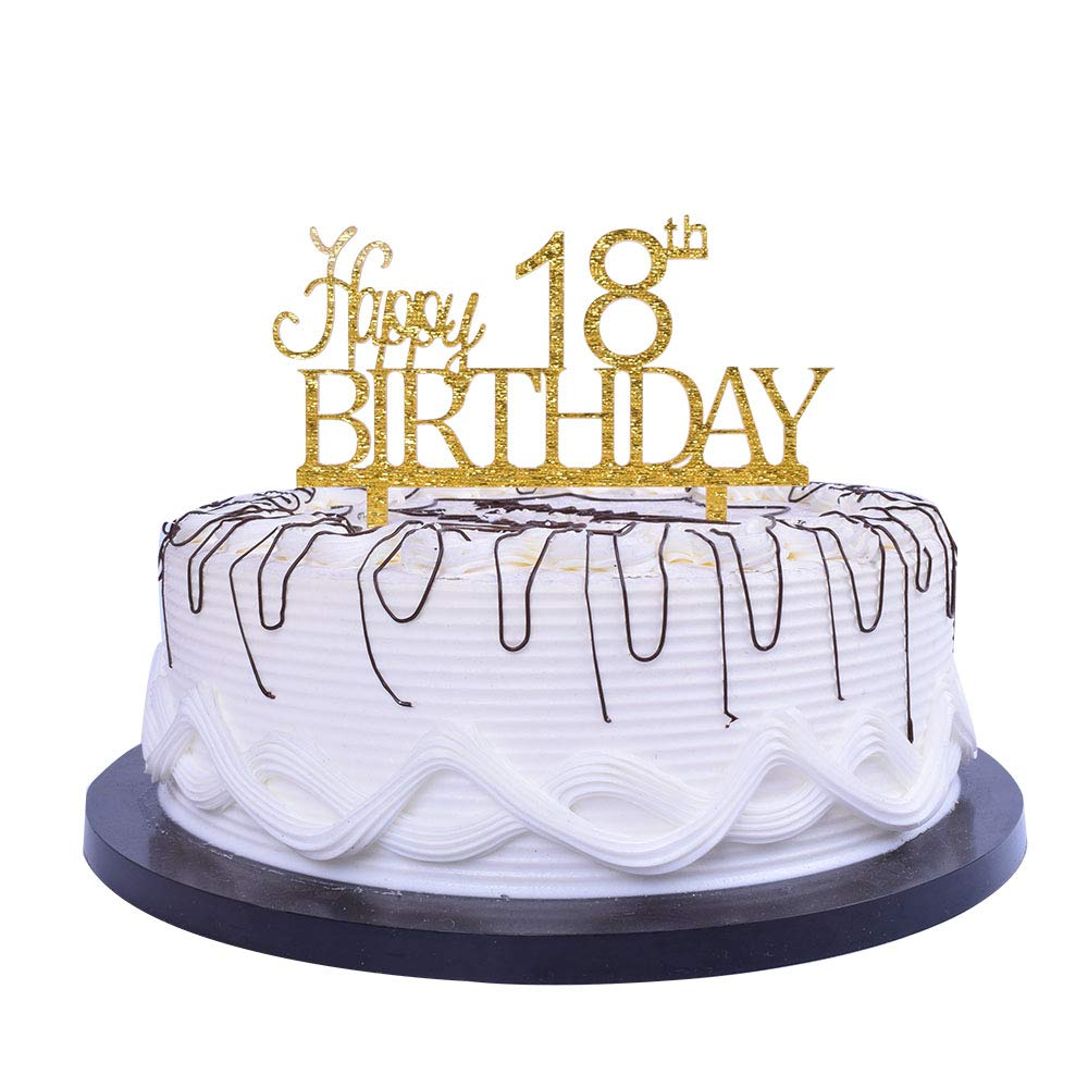 Amazon YUINYO Happy 18th Birthday Cake Topper Gold Party Decoration Supplies Calligraphy Bling Sign Banner Toys
